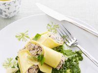 Pasta Rolls with Porcini Mushrooms and Pesto recipe