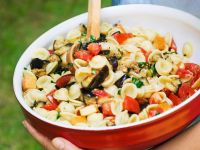 Pasta Salad with Cheese and Eggplant recipe