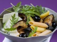 Pasta Salad with Olives, Arugula, Eggplant and Parmesan recipe