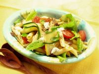 Pasta Salad with Romaine Lettuce, Tomatoes and Zucchini recipe