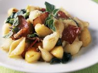 Pasta Shapes with Herbs and Prosciutto recipe