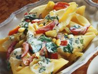 Pasta Shells with Spicy Vegetable Sauce recipe