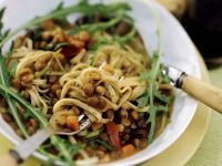 Pasta with Balsamic Lentils and Arugula recipe