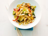 Pasta with Bamboo Shoots, Broccoli and Rice Cake recipe