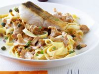 Pasta with Chanterelles and Perch recipe