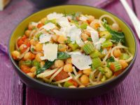 Pasta with Chickpeas, Vegetables and Parmesan recipe