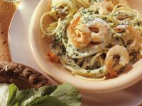 Pasta with Cream Sauce and Shrimp Scampi recipe
