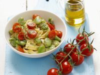 Pasta with Broad Beans and Cherry Tomatoes recipe