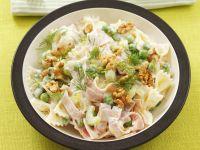 Pasta with Ham, Peas, Celery and Walnuts recipe