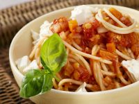Pasta with Lentil Tomato Sauce and Crumbled Feta recipe