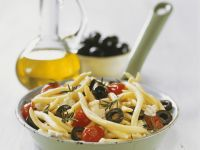 Pasta with Olives, Feta Cheese and Cherry Tomatoes recipe