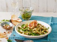 Casarecce with Pea and Chervil Pesto, Pancetta and Mint recipe