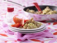 Pasta with Scrambled Eggs and Tomato Salad