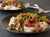 Pasta with Tomato and Olive Sauce recipe