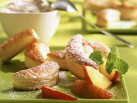 Pastry Crescents with Peaches and Cream recipe