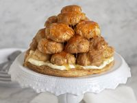 Pastry Tower with Caramel Drizzle recipe