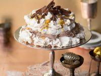 Pavlova with Chocolate Cream and Passion Fruit