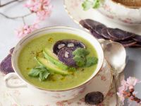 Pea and Potato Bisque with Vitelotte Chips recipe