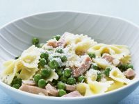 Pea, Ham, and Parmesan Farfalle recipe