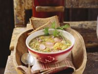 Pea Soup with Ham and Hot Dogs recipe