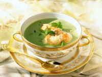 Pea Soup with Langostinos and Mint recipe