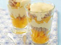 Peach Dessert with Vanilla Cream and Sesame Cookies recipe