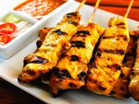 Peanut Chicken Skewers with Sauce recipe