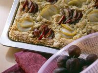 Pear and Plum Streusel Cake recipe