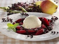 Pear Compote with Elderflower and Ice Cream recipe
