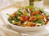 Penne with Tomato Sauce and Arugula recipe
