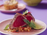 Pepper Tuna Steaks and Melon Salsa recipe