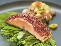 Peppered Salmon with Salad and Mango Salsa recipe