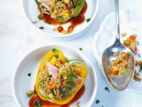 Peppers Stuffed with Bulgur and Smoked Trout in Tomato Sauce recipe