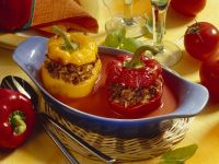 Peppers Stuffed with Ground Meat and Rice recipe
