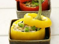 Peppers Stuffed with Rice, Celery and Pine Nuts recipe