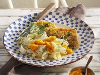 Perch Fillet with Black Salsify and Pasta and Carrot Sauce recipe