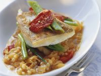 Perch Fillet with Sauerkraut, Bell Peppers and Pearl Barley recipe