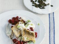 Perch with Horseradish and Root Vegetables recipe