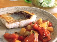 Perch with Peppers and Cucumber recipe