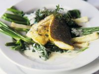 Perch with Scallions and Spinach recipe
