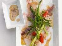 Pescaccio with Asparagus, Tomatoes and Citrus Vinaigrette recipe
