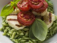 Pesto Risoni with Grilled Mozzarella recipe