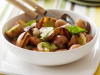 Pesto with Grilled Potatoes and Basil recipe