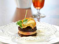 Petite Chocolate Cakes with Apples and Vanilla Cream recipe