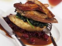 Pheasant on Braised Cabbage with Roasted Vegetables recipe