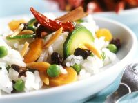 Pilaf with Vegetables, Almonds, and Chiles recipe