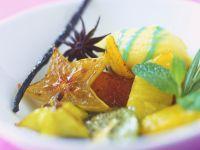 Piña Colada Ice Cream with Sautéed Exotic Fruit recipe