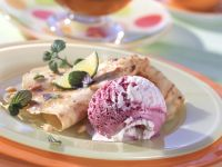 Pine Nut Crepes with Honey Mint Sauce recipe