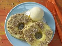 Pineapple Rings with Sesame Seed Ice Cream