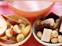 Pink Yogurt Fondue with Fruit, Chocolate and Cookies recipe